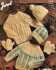Knitting Pattern Baby Children's Jumper Hat & Mittens Chunky Winter Aran