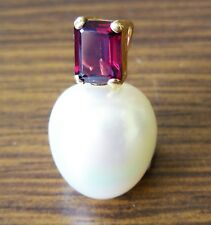 16mm! WHITE SOUTH SEA PEARL +RHODOLITE GARNET+18ct Y GOLD PENDANT+CERT AVAILABLE