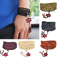 Buddhist Sandalwood 216 Rosary PRAYER Beads Buddha Mala Bracelet Necklace UK s11