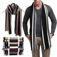 Men's Fashion Striped Winter Scarf Long Warm Wrap Shawl Scarves
