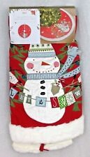 "Nwt Pier 1 Light Up Led Christmas Tree Skirt 50"" Appliqued Snowman Red Faux Fur"