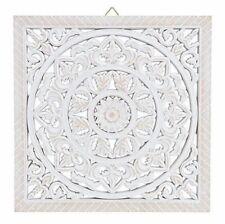 Wandornament Holz weiß 40 x 40 cm shabby Landhaus Ornament Holzornament Holzbild