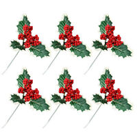 3x Artificial Flower Holly Berry Berries Branch For Wedding Christmas Decoration