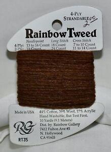 "Rainbow Gallery ""Rainbow Tweed"" cotton/wool/acrylic 4 ply 10 yards RT35 brown"