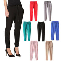 Chiffon Summer Fall Casual Harem Drawstring Elastic Waist Pants Women Trousers