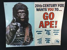 """Rare Planet Of The Apes 1974 Half-Sheet Theatrical Movie Poster 20""""X25"""" Go Ape"""