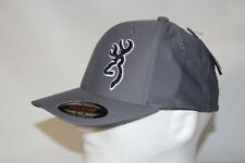 f42b0f5ee47 Browning Buckmark Logo Flexfit Baseball Cap Hat in Grey Sm Med with Free  Decal
