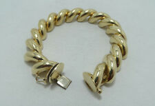 Stunning 14K Yellow Gold Puffy San Marco Link Bracelet 8 Inch A4406