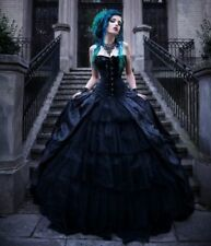 Black Romantic Gothic Ball Gown Long Prom Party Dress Vintage Bridal Dresses