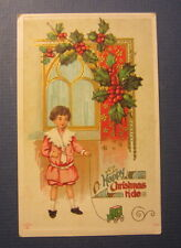 Old Vintage c.1910 - Happy Christmas POSTCARD - Boy with Toy wagon on string