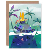 Pirate Treasure Boys 4th Birthday Card Blank Greeting Card With Envelope