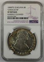 1808-PTS PJ Bolivia 8 Reales Carolus III Silver Coin NGC XF Details Cleaned