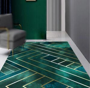 Dark Green Gold Geometry Printed Floor Mat Area Rug Non-Slip Door Carpet Cushion