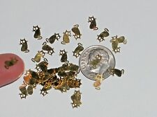 15pc Tiny metal golden baby Kitty Cats rare charm fairy dust glitter Halloween *