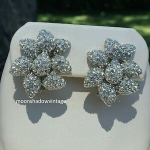 Signed CINER Vintage Clear Rhinestone Sparkly Cluster Silver Tone Clip Earrings