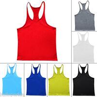 New Mens Gym Tank Top Bodybuilding Athletic Fitness Y BACK Racer Sport Vest JD