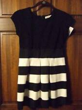 NWT ~ FOUR THREADS black off-white striped dress cap sleeves above knee girls 16