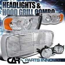 02-05 Ram 1500 2500 3500 Chrome Crystal Headlights+Clear Fog Lamp+Grille