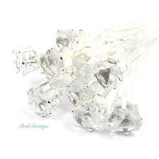 Bridal Wedding Clear Crystal Diamante Silver Heart Hair Pins Clips Grips HP09