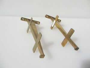 "Vintage Brass Shelve Brackets Old Shelf Shelving Bathroom Retro 7.5""D"