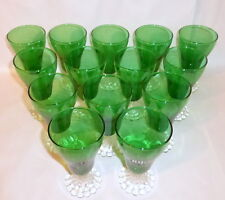 "14 Vintage 1940's Forest Green 5"" Juice Luzianne Boopie Glasses Anchor Hocking"