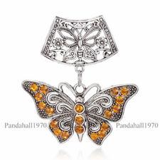 2x Alloy Yellow Rhinestone Butterfly Flower Antique Silver Big Pendants 17x18mm