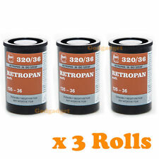 3 Rolls Retropan Soft 320 36 exp Black and White Camera Film 135-36 35m by FOMA