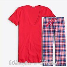 NWT J. CREW FACTORY 2pc Pajama Set Plaid Flannel Pants Red V-neck Tee Womens S