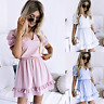 Womens Loose Party Baggy Plain Stretch trim Tops UK Short Holiday Mini Dresses