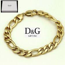 """Figaro Chain Bracelet Unisex + Box Dg Men's 8.5"""" Gold Stainless Steel 14mm"""