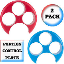 Meal Measure Food Portion Control on Your Dinner Plate - 2 Pack (1 Red, 1 Blue)