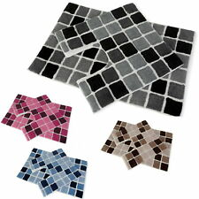 Mosaic Squares Blocks 2 Piece Soft Bath Mat & Pedestal Toilet Mat Bathroom Set