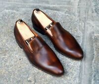 Mens Formal Shoes Handmade Brown One Piece Leather Moccasin Wedding Loafers Boot