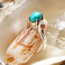 Silberring 61 Mondstein Weiß Bunt Türkis Koralle Rot Elegant Krone Silber Ring