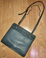 Furla Pebbled Leather Convertible Crossbody Chain Shoulder Bag Purse Slate Blue