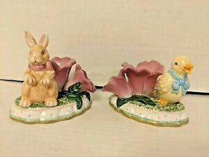 Avon Springtime Easter Candle Taper Holders Bunny And Rabbit