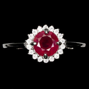 Round Red Ruby 6mm Cz 14K White Gold Plate 925 Sterling Silver Ring Size 6