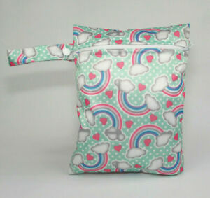 Small Wet Bag for Nappies, Breast Pads, Wipes, Cloth Pads - Rainbows