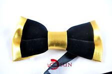 Genuine Plain Leather Slim Neck Tie in Black Color 1.75 inch Wide