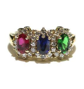 925 Sterling Silver emerald blue sapphire ruby cubic zirconia cz gemstone ring