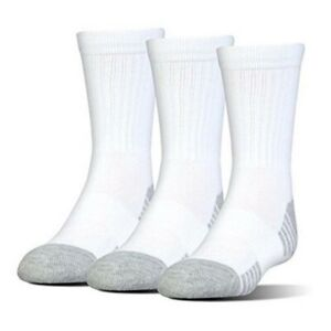 *NWT* Under Armour Mens 3-pk White Heatgear Performance Training Crew Socks 8-12