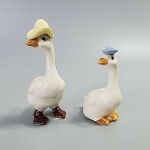 Hagen Renaker Mama & Papa Goose Anthropomorphic Mini Porcelain Figurines VTG
