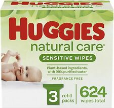 Huggies Natural Care Sensitive Baby Wipes, Unscented, 3 Refill Packs (624 Wipes)