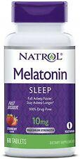 Natrol Sleep Melatonin 10mg Tablets,Strawberry Natural Flavor 60 ea (2 pack)