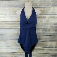 Swimsuits For All NWT 16 Draped Front Navy Halter Tie Back One Piece Swimsuit