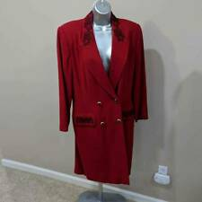 Kasper For ASL Womens Dress Suit Red Black Embroidered Double Breasted Lined 12