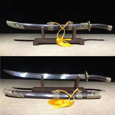 """Top Quality Engraved Dragon CHINESE  """"QING DAO"""" Damascus Steel Blade Broad Sword"""