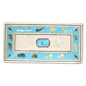 4'x2' Marble Counter Height Table Top Turquoise Inlay Animal Art Home Decor E957
