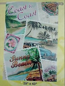 "Decorative Flag Home Garden Beach Coastal Paradise 29x43"" New in Pkg Evergreen"