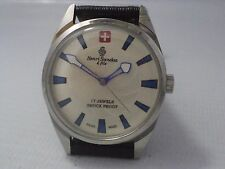 VINTAGE HENRI SANDOZ 17J SHOCKPROOF HAND WINDING MENS WATCH EXCELLENT CONDITION